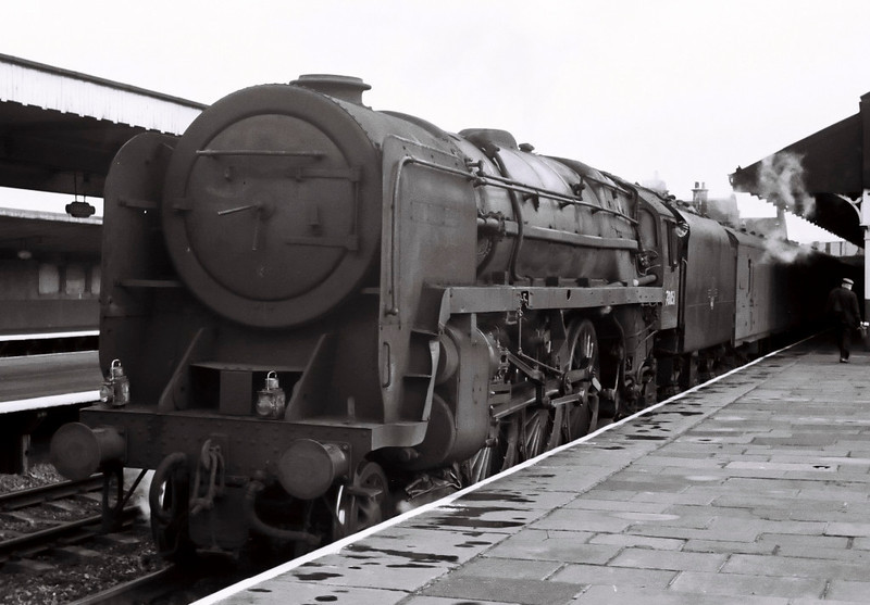 70051, Carnforth, August 1967.    The former 'Firth of Forth' stands with a southbound WCML parcels train.  It was withdrawn in December, along with all other surviving Britannias.