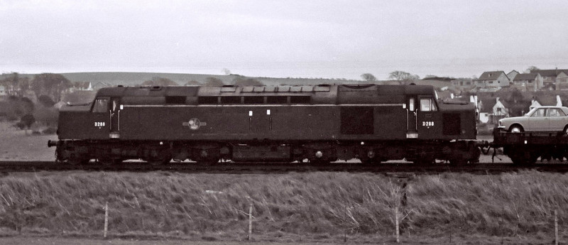 D288, Hest Bank, 25 March 1967.    A northbound car train, with a Ford Cortina Mk 2 in pole position.  The class 40 was withdrawn in 1982.