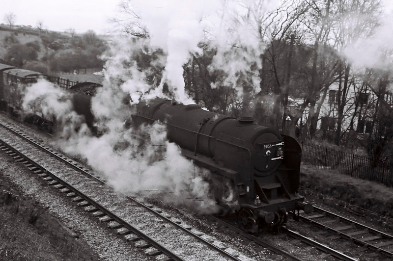 92156, Hest Bank, 25 March 1967.   A northbound WCML freight approaches Hest Bank.  Despite its deplorable condition, the 9F was not withdrawn until July.