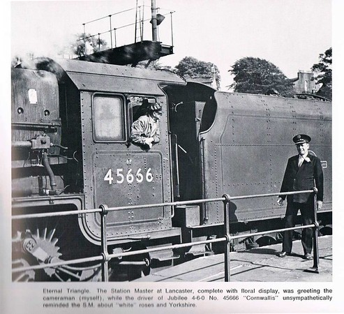 Lancaster Castle Stationmaster about 1963.  He was George Ramsden, thought to have come to Lancaster from Stockport Tiviot Dale on promotion.  He replaced Mr E C Brown who was in post at least 1958 - 1962 before retiring.  Photo by J B Bucknall, in his Age of Kings p 27