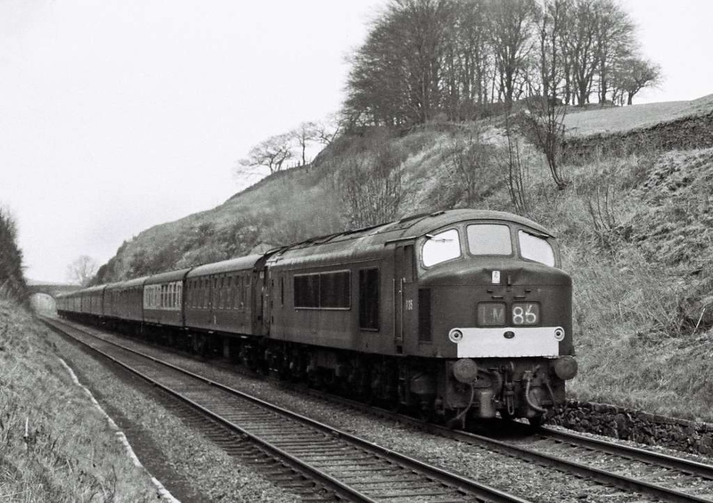D35, 1M86, near Settle Junction, 1 April 1967.  The  Glasgow Central  - St Pancras Thames Clyde Express.  Note the dents on the nose of the future 45117, and the position of the 55A shedplate.
