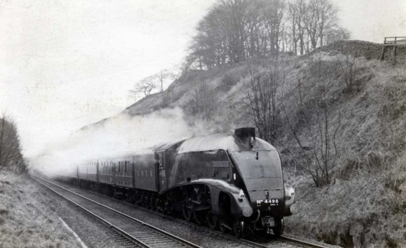 4498 Sir Nigel Gresley, near Settle Junction, 1 April 1967.  First run in preservation.