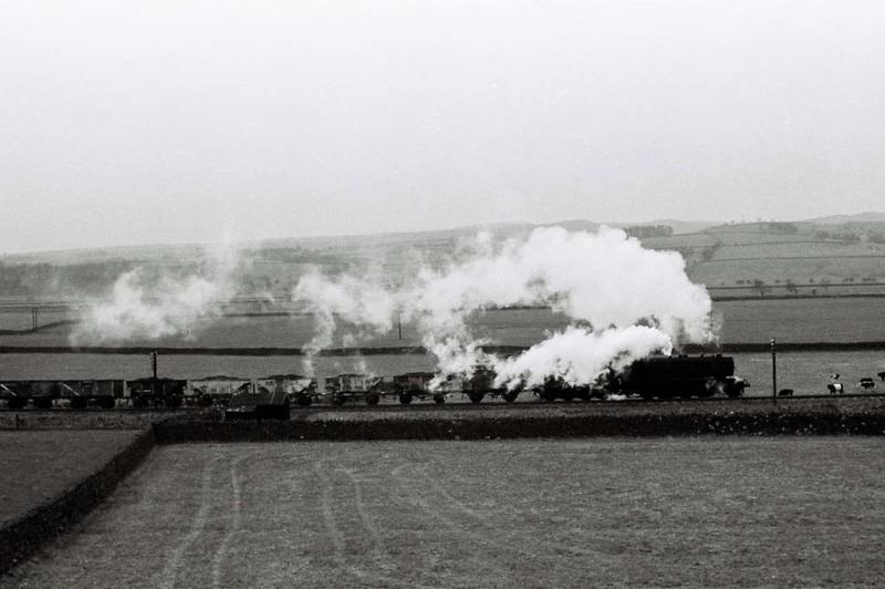 90xxx, near Settle Junction, 1 April 1967.  Heading west towards Wennington.