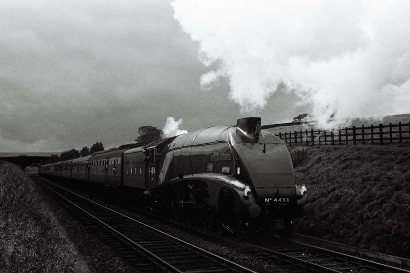 4498 Sir Nigel Gresley, leaving Hellifield, 30 September 1967.