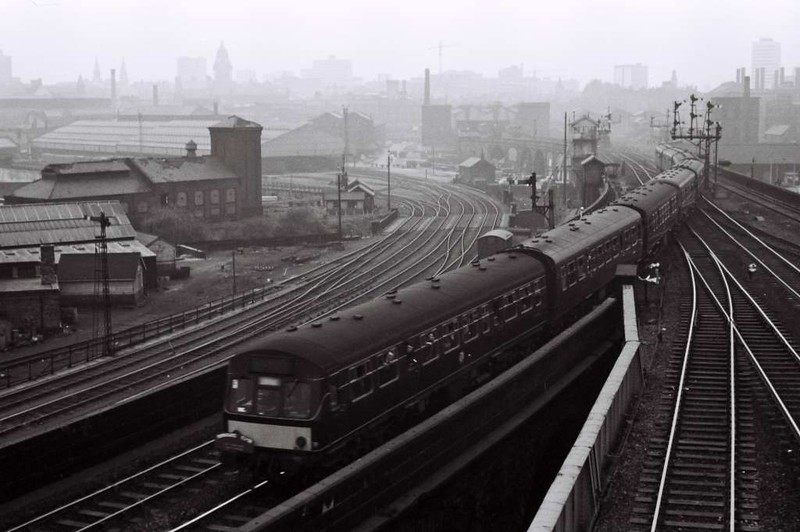Last train from Leeds Central, Sat 29 April 1967.  The very last passenger train from Central, the specially strengthened 1810 to Harrogate, heads towards Geldard Junction after setting off a detonator fusillade in Central.