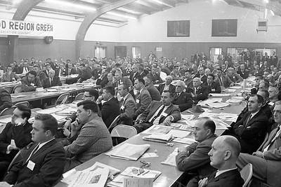 Great interest in a panel discussion at the Redwood Region Logging Conference was reflected in the faces of more than 350 people gathered March 8, 1962 at Redwood Acres in Eureka. (Times-Standard file photo)