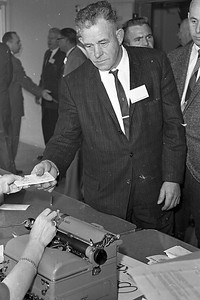 Harry Wier of Arcata Redwood Co. is shown registering March 8, 1962 for the Redwood Region Logging Conference. More than 350 loggers, lumbermen and foresters were on hand for the sessions. (Times-Standard file photo)