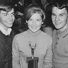 Band students Ragi Neal, Karen Thompson and Gary Scott with a band trophy - 1965