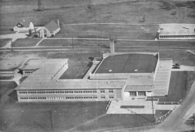 Aerial view of the Greenwood junior/senior high school - 1957