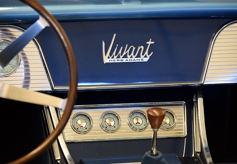 The dashboard of a 1965 Vivant on Wednesday, Oct. 18, 2017, at JEM Motorworks in Loveland. Jake Yenny, owner of JEM Motorworks, spent a year and a half totally remaking a 1965 Vivant, a one-of-a-kind concept car that was created by a man who went on to spend his career designing things for Pontiac. The rebuilt Vivant won first place in its class this summer at the Pebble Beach Concours d'Elegance, which is considered the top car show in the world.   (Photo by Jenny Sparks/Loveland Reporter-Herald)