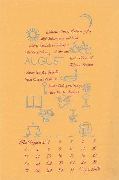 August, 1967, Peppercorn Press
