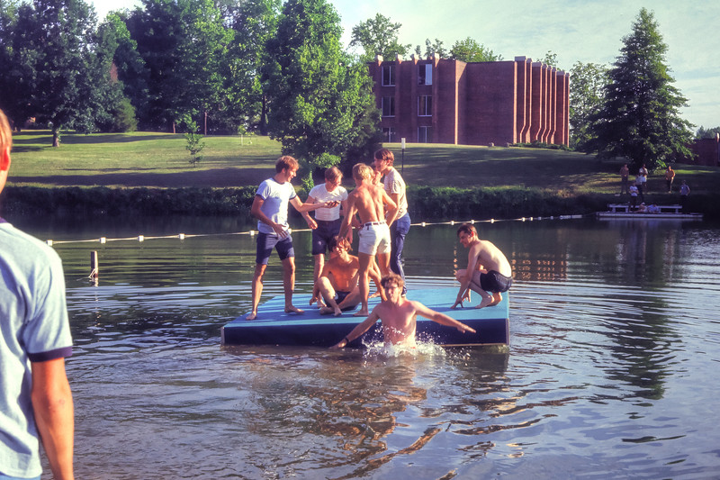 1971 Catapult students enjoy the newly constructed raft on the lake