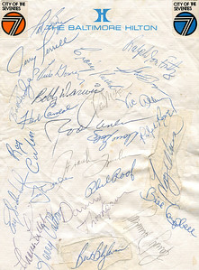 We took a family trip to Baltimore in 1974. I was 12 years old. The Minnesota Twins were in town to play the Orioles, and were staying at our hotel. These are the Twins' autographs I collected that week. Everyone was happy and willing, except Larry Hisle, who stiffed me. Got future Hall-of-Famers Harmon Killebrew, Rod Carew and Bert Blyleven, so it's all good.