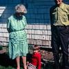 Myrtle Drewett, Kristi, and Jim Drewett,  Prairie City, OR, May 1973