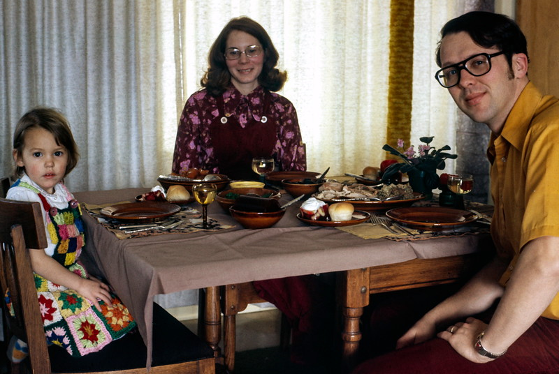 Kristi, Barbara and Bob, Thanksgiving 1973 at home at Craters of the Moon