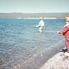 Kristi fishing, Yellowstone Lake, Yellowstone NP, WY, July 1974
