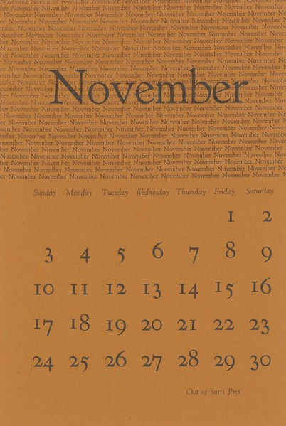November, 1974, Out of Sorts Pres