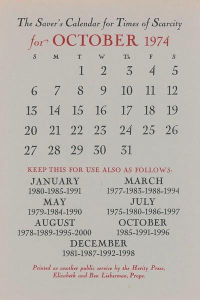 October, 1974, Herity