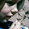 Kristi and a baby toad, Capitol Reef NP, UT, August 1977