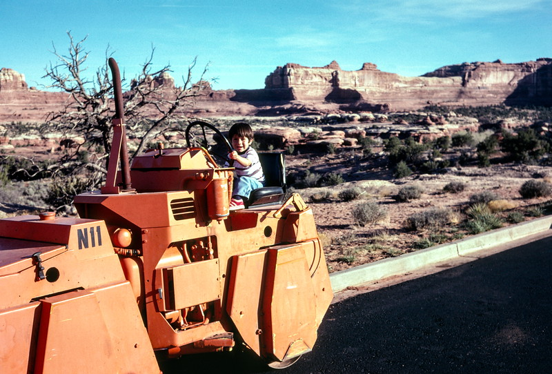 Scott 'driving' a roller at Canyonlands NP, UT April 1977