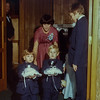 Diana England with ring bearers, Tom III, and Chad Luthy<br>Rick Reid to the left, Scott Luthy to the right