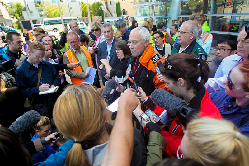 Christchurch City mayor Bob Parker talks to the hundreds of media after the 6.3 quake, Christchurch, New Zealand, Thursday, February 24, 2011. Credit:NZPA / Wayne Drought