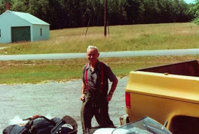 Charles Stone and yellow truck, 1978