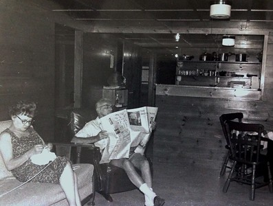 Interior of one of Charles' cabins, 1971