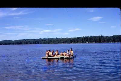 The cool people hung out on the raft