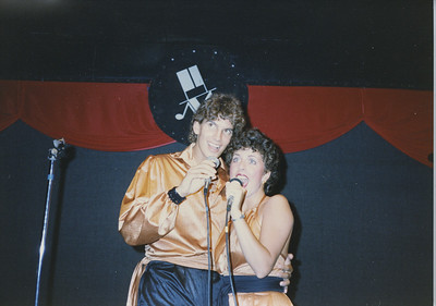 "I did 5 dinner theaters in Florida during the '80's. Jeff Brezovar and I goofing around before the show. We sang ""Where Is The Love"" in this show."