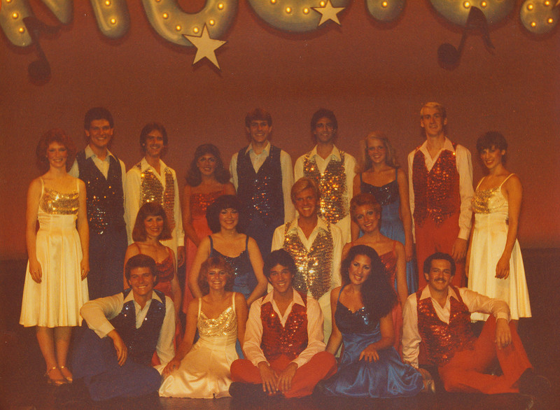 This was my first professional gig and it was fun, fun, fun!. Marriott's Great America: Grand Music Hall. We did 4-5 shows per day with 14 costume changes each show. Lots of dancing and 1000 people in the audience at each show. I'm in the back row in the red dress.