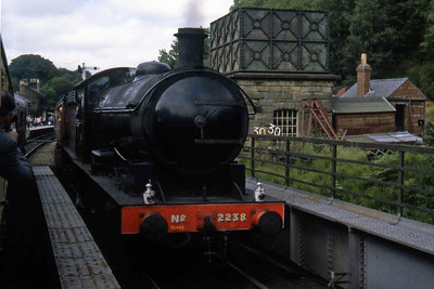 NER 'Q6' 0-8-0 no. 2238 waits at Goathland with a southbound train as D5032 arrives with a Pickering to Grosmont service (??/07/1982)