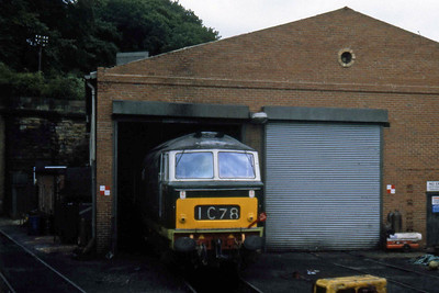 'Hymek' D7029 peers out of the shed at Grosmont on the North Yorkshire Moors Railway (??/07/1982)
