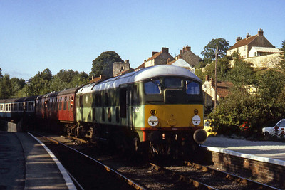 D5032 arrives at Pickering with a late afternoon train from Grosmont (??/07/1982)