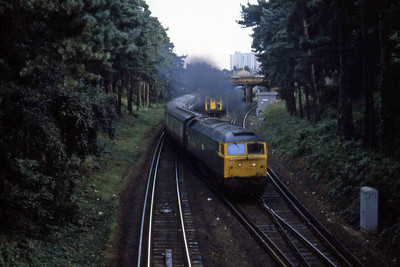 47484 'Isambard Kingdown Brunel' follows shortly afterwards on the last leg of its journey to Poole with an inter-regional express (27/08/1982)