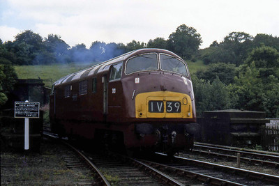 D821 runs round at Grosmont before working an afternoon service back to Pickering (??/07/1982)