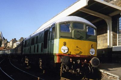 Another view of D5032 on arrival at Pickering with the last train of the day from Grosmont (??/07/1982)