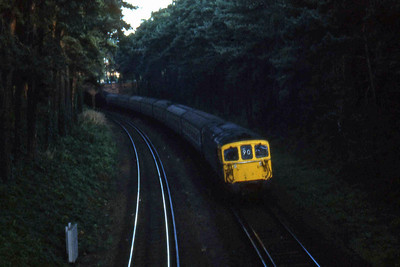 33115 is pictured on the approach to Bournemouth with the morningChannel Islands Boat Train from Weymouth Quay to Waterloo (25/08/1982)