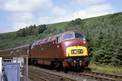 D821 'Greyhound' arrives at Levisham on the North Yorkshire Moors Railway with a Grosmont to Pickering service (??/07/1982)