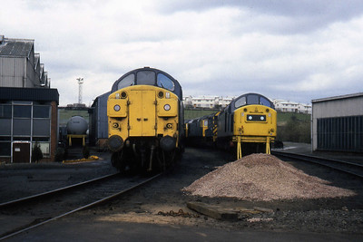 37011, 47120, 27001, 08938 and 40173 are visible in this view during the BGS Transport Society's visit to Eastfield (03/04/1982)