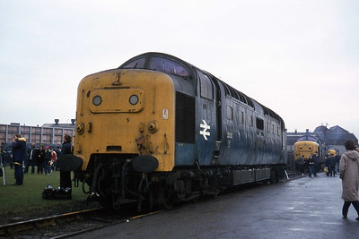 55016 stands adjacent to the Lawn outside the main Erectin Shop. Visible in the background are 55005 and 55009, the latter with its engines running (27/02/1982)