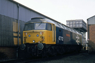 47712 'Lady Diana Spencer' is pictured on shed at Haymarket during a visit by the Bradford Grammar School's Transport Society (03/04/1982)