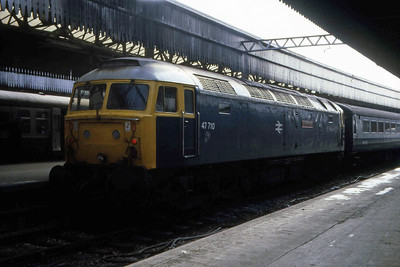 47710 'Sir Walter Scott' awaits departure from Aberdeen at the rear of 1Txx 1105 to Glasgow Queen Street. Whilst most of these turns were in the hands of conventional 47/4s at the time, a select few utilised 47/7s and push-pull stock (07/04/1983)
