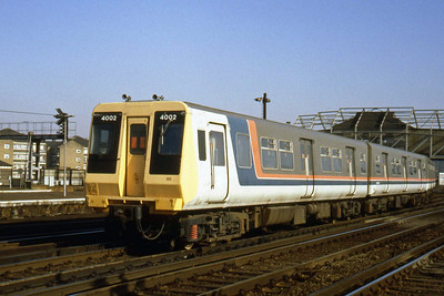 One of the two 4-PEP prototype EMUs no 4002 is seen on test at Clapham Junction (22/02/1983)