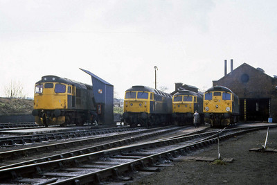 Another view of 27008,  47051, 47207 and 26021 on shed at Ferryhill (07/04/1983)