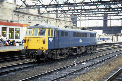 86001 is pictured between duties in the middle roads at Carlisle (31/07/1983)
