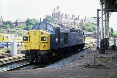 40131 at Preston having been detached from the Summer Saturday 1Sxx 14xx Blackpool North - Kirkcaldy (30/07/1983)