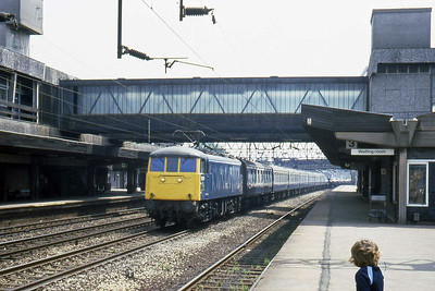 81021 passes through Stafford with a northbound Motorail (22/07/1983)