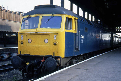 47406 'Rail Riders' calls at Manchester Victoria with 1E59 1805 Liverpool - York (22/07/1983)