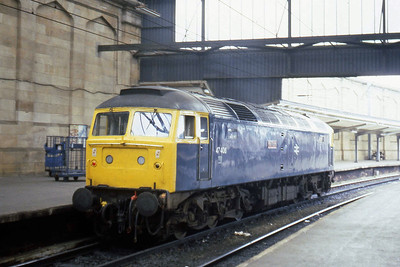 47406 'Rail Riders' is shunt-released at Carlisle after working 1Mxx from Edinburgh via Newcastle (28/07/1983)